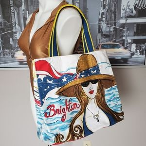 Brighton Chic Ahoy Canvas Beach Tote Bag
